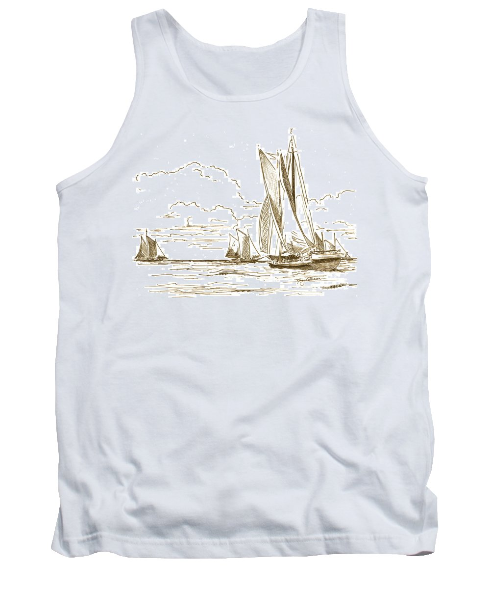 Oyster Schooners Tank Top featuring the drawing Vintage Oyster Schooners by Nancy Patterson