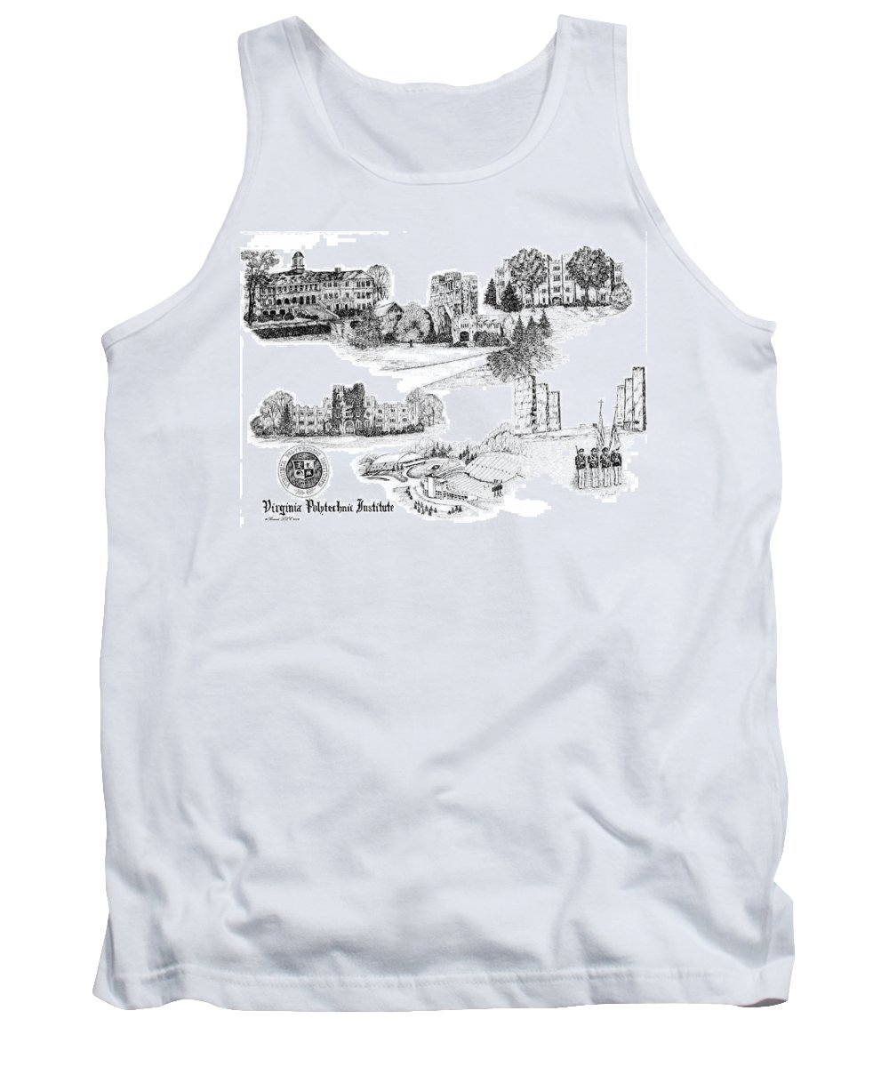 Illustrations Tank Top featuring the digital art Virginia Tech by Jessica Bryant