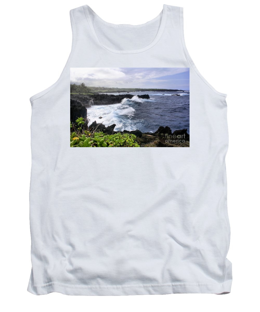 Aloha Tank Top featuring the photograph Waianapanapa Pailoa Bay Hana Maui Hawaii by Sharon Mau