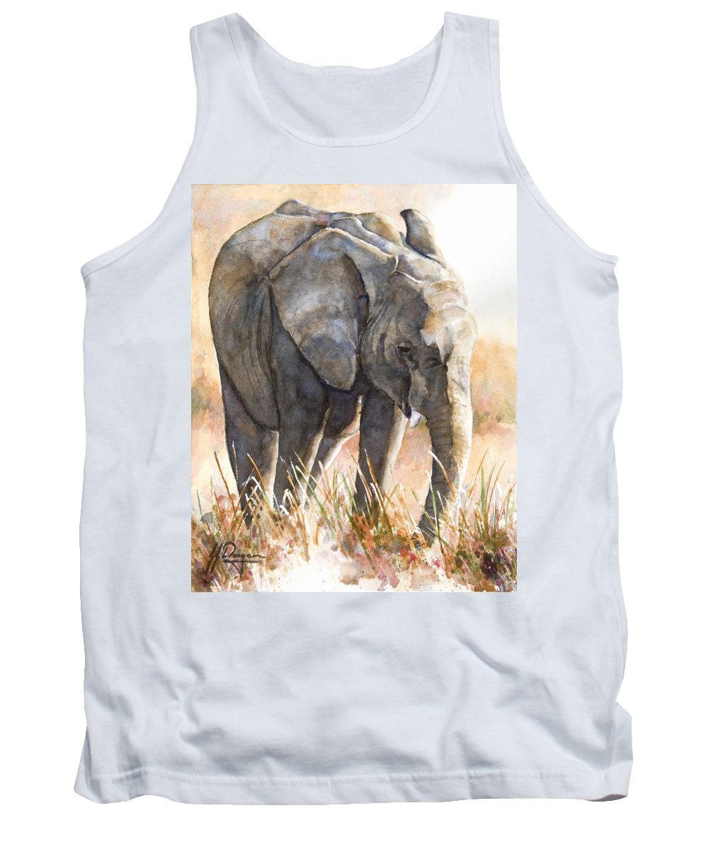 Elephant Tank Top featuring the painting Wait For Me by John Dougan