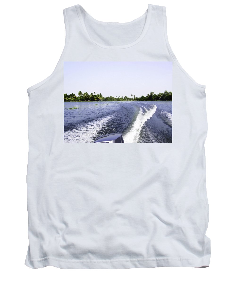 Alleppey Tank Top featuring the digital art Wake From The Wash Of An Outboard Motor Boat In A Lagoon by Ashish Agarwal