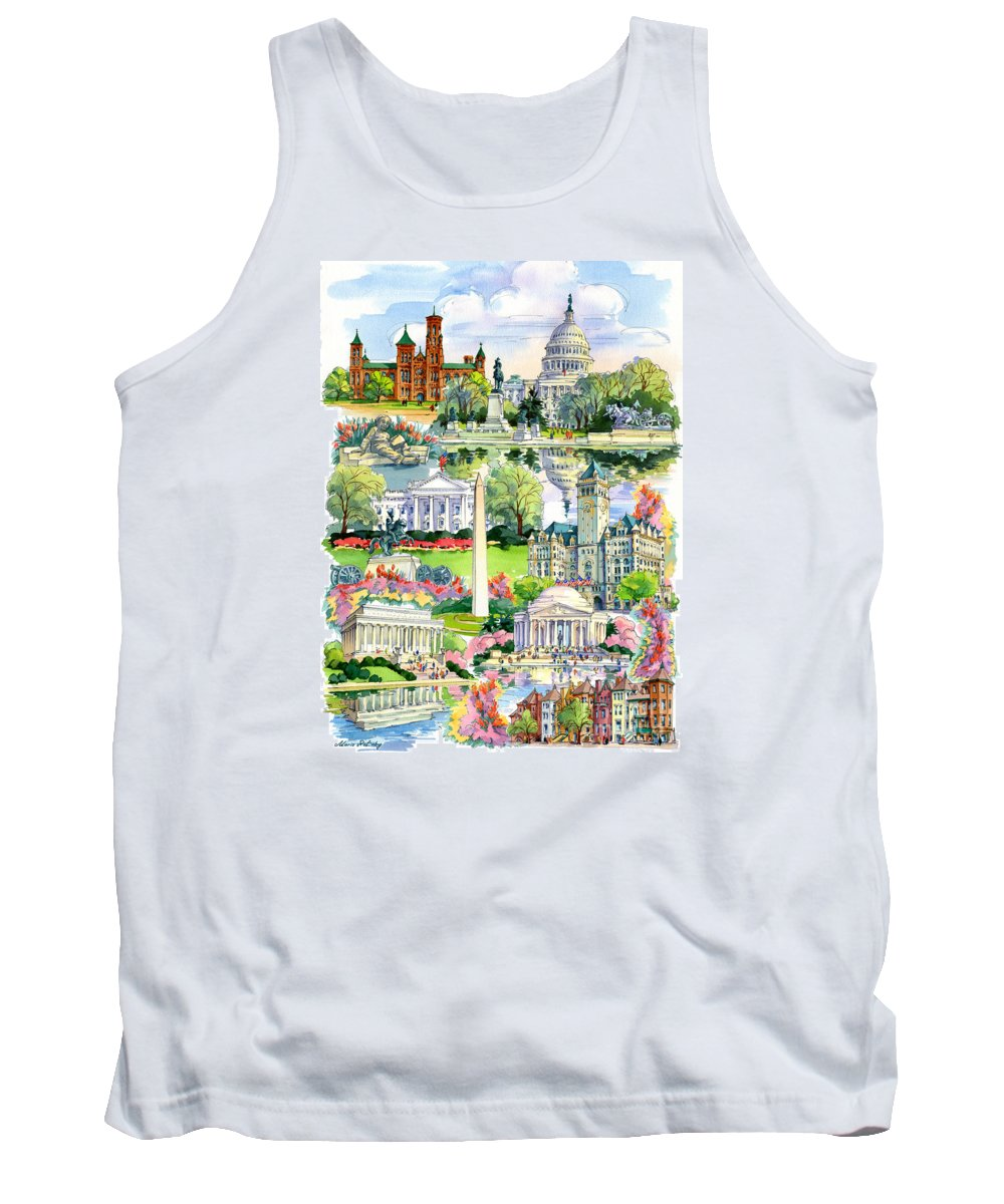 Washington Tank Top featuring the painting Washington Dc Painting by Maria Rabinky