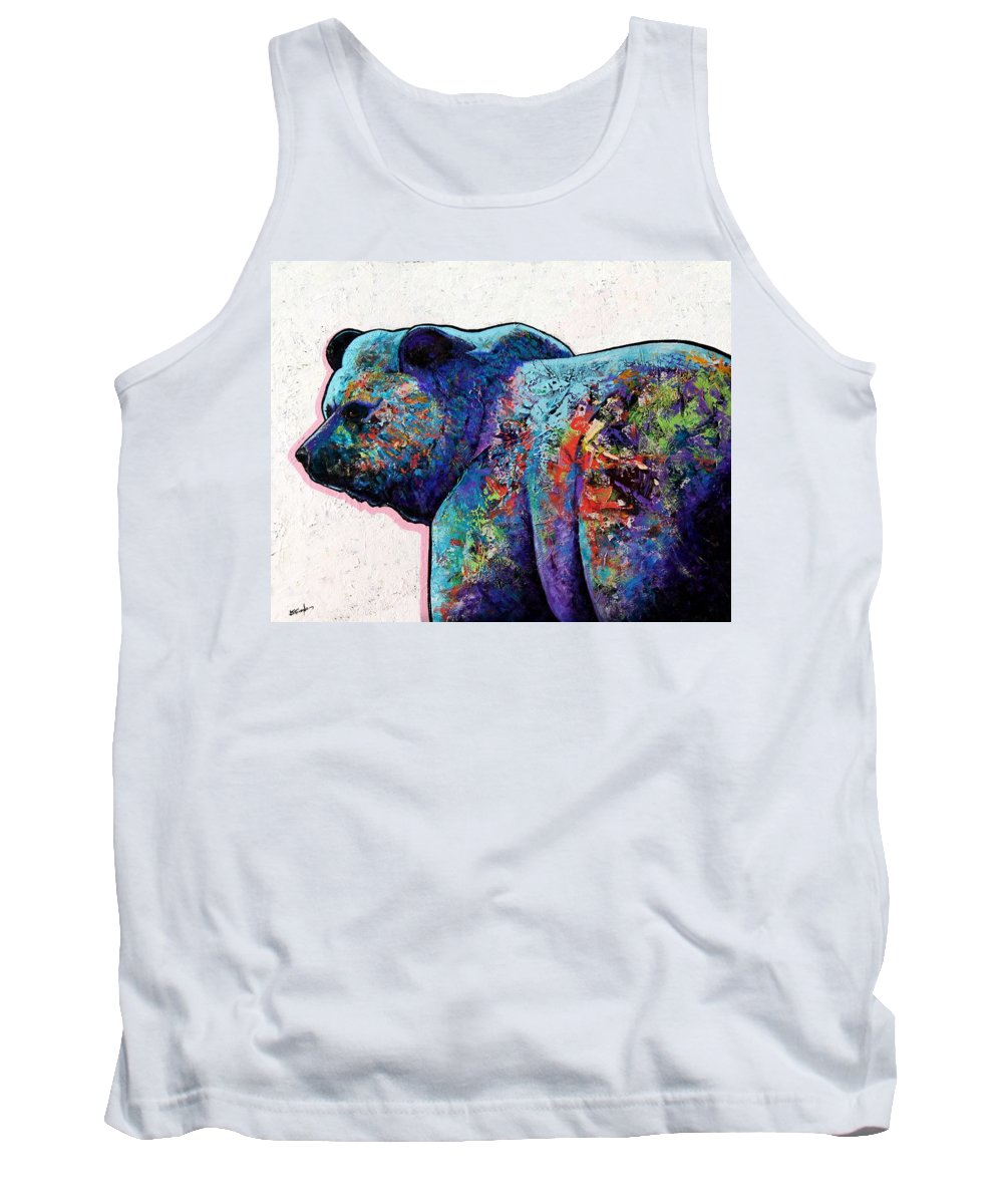 Wildlife Tank Top featuring the painting Watchful Eyes - Grizzly Bear by Joe Triano