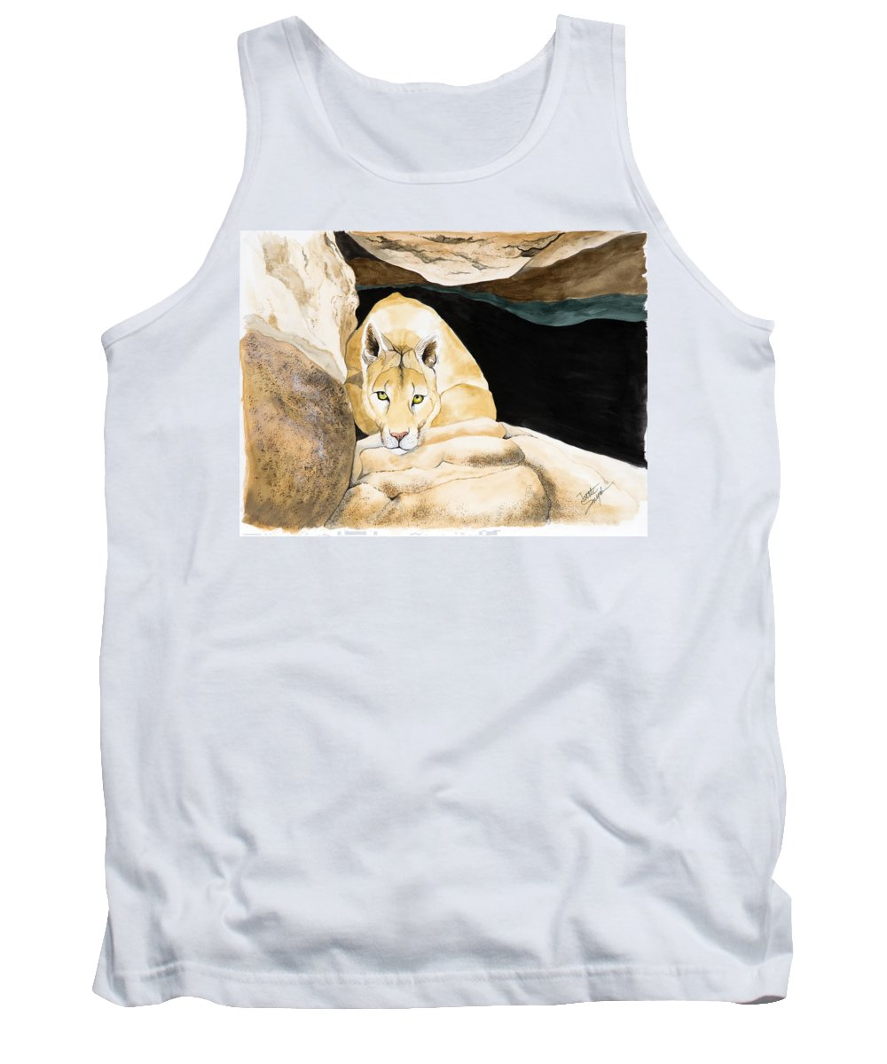 Cougar Tank Top featuring the painting Watching by Joette Snyder