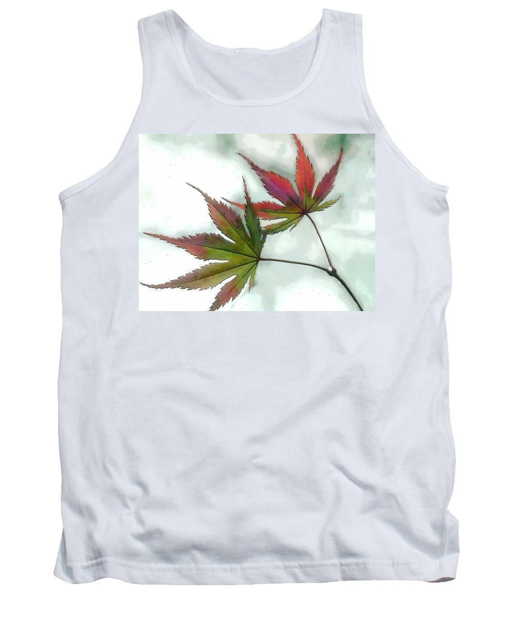 Tree Leaf Leaves Watercolor Botanical Maple Japanese Japanese+maple Tank Top featuring the painting Watercolor Japanese Maple Leaves by Elaine Plesser