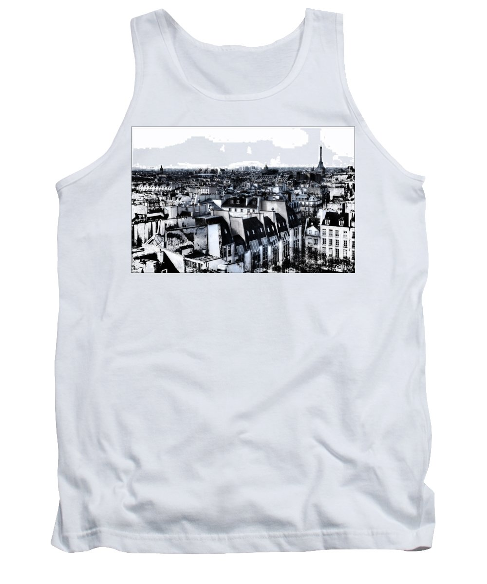 Evie Tank Top featuring the photograph Watercolor Paris With Eiffel by Evie Carrier