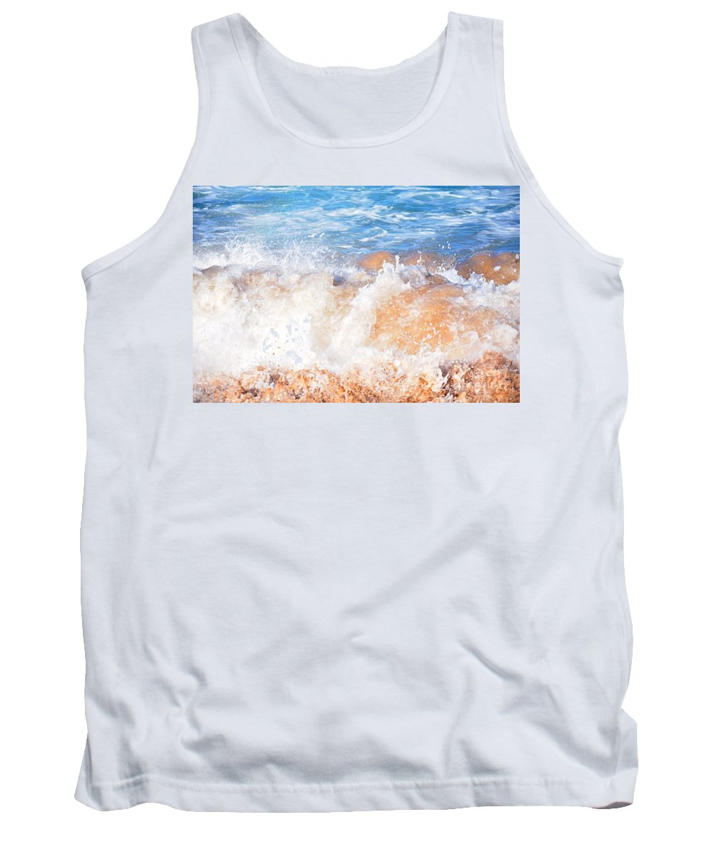 Photography Tank Top featuring the photograph Wave Up Close by Kaye Menner
