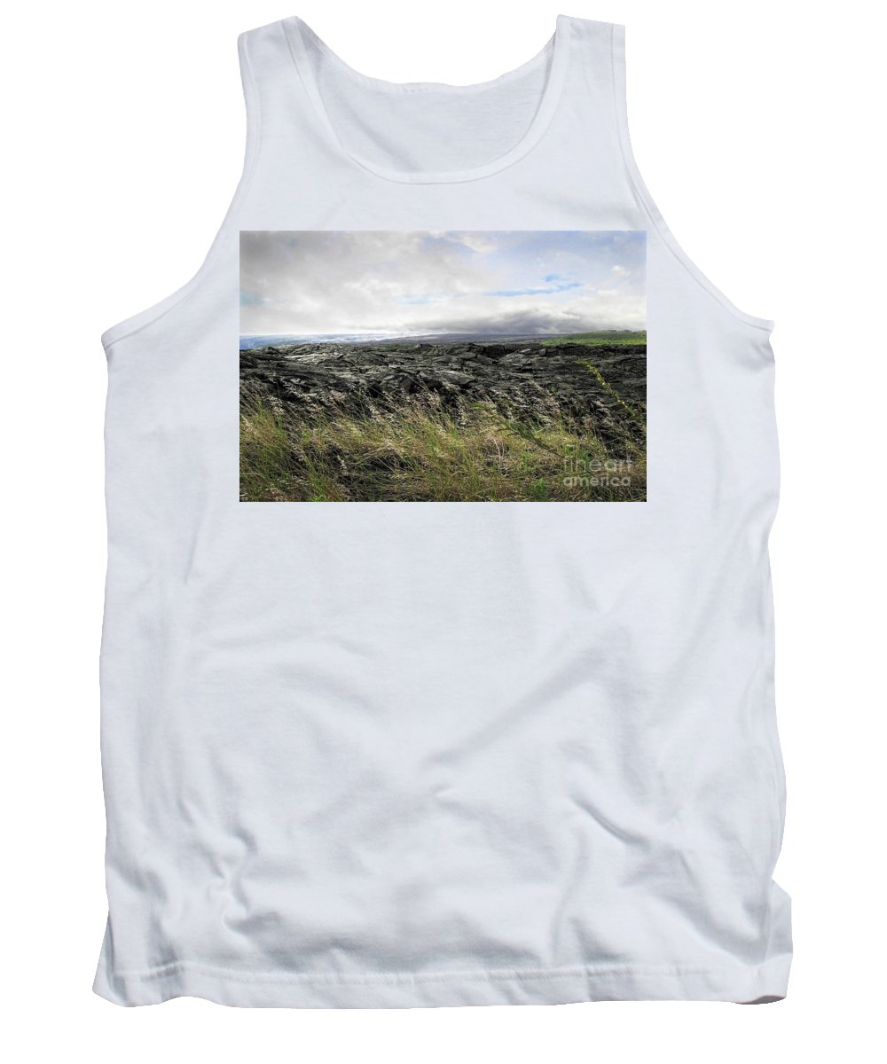 Big Island Tank Top featuring the photograph Waves Of Clouds Sea Lava And Grass by Ellen Cotton