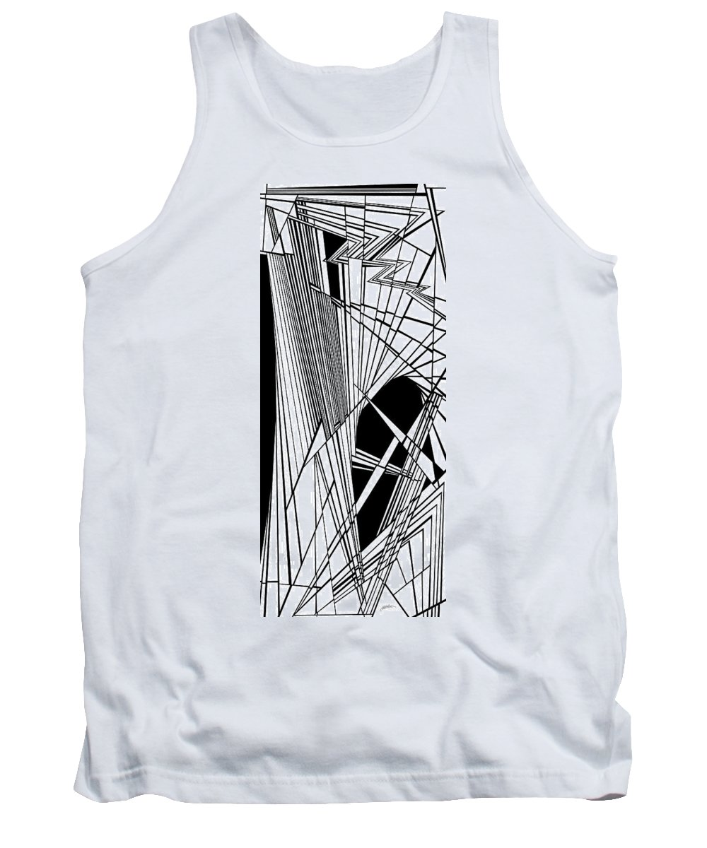 Dynamic Black And White Tank Top featuring the painting Waxillium by Douglas Christian Larsen