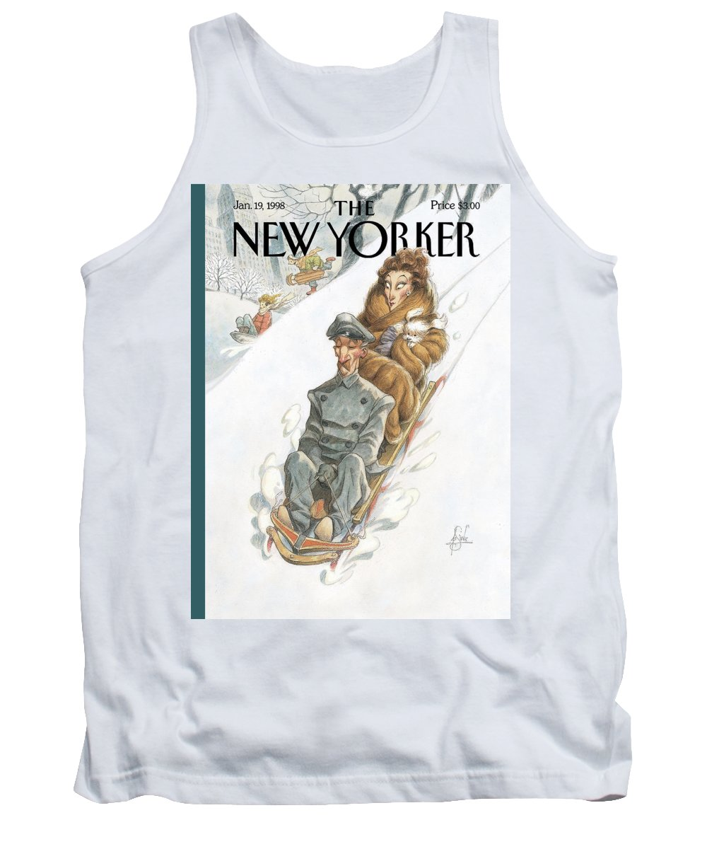Sled Tank Top featuring the painting Through the Park James by Peter de Seve