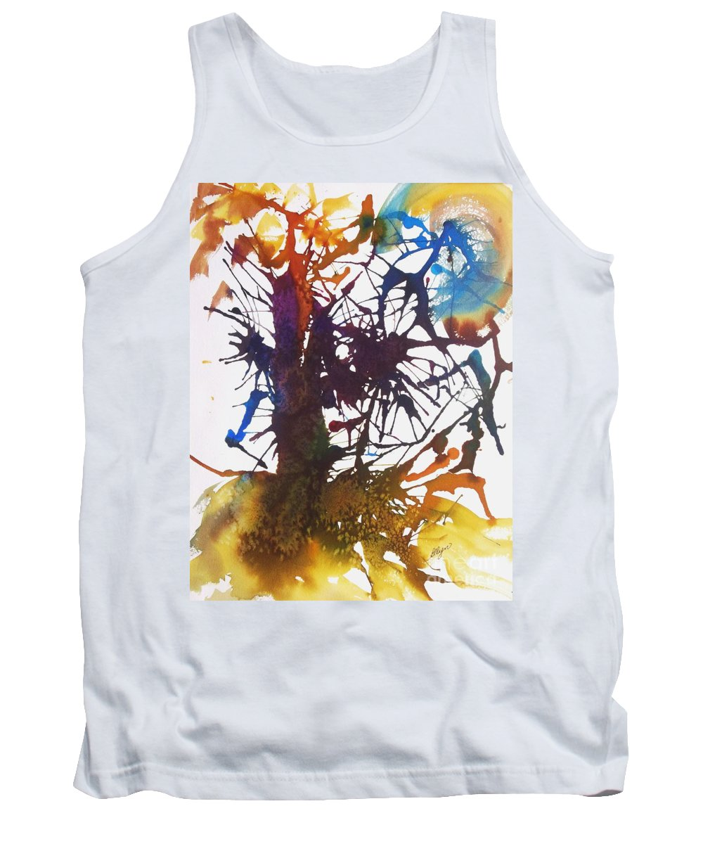 Web Of Life Tank Top featuring the painting Web Of Life by Ellen Levinson