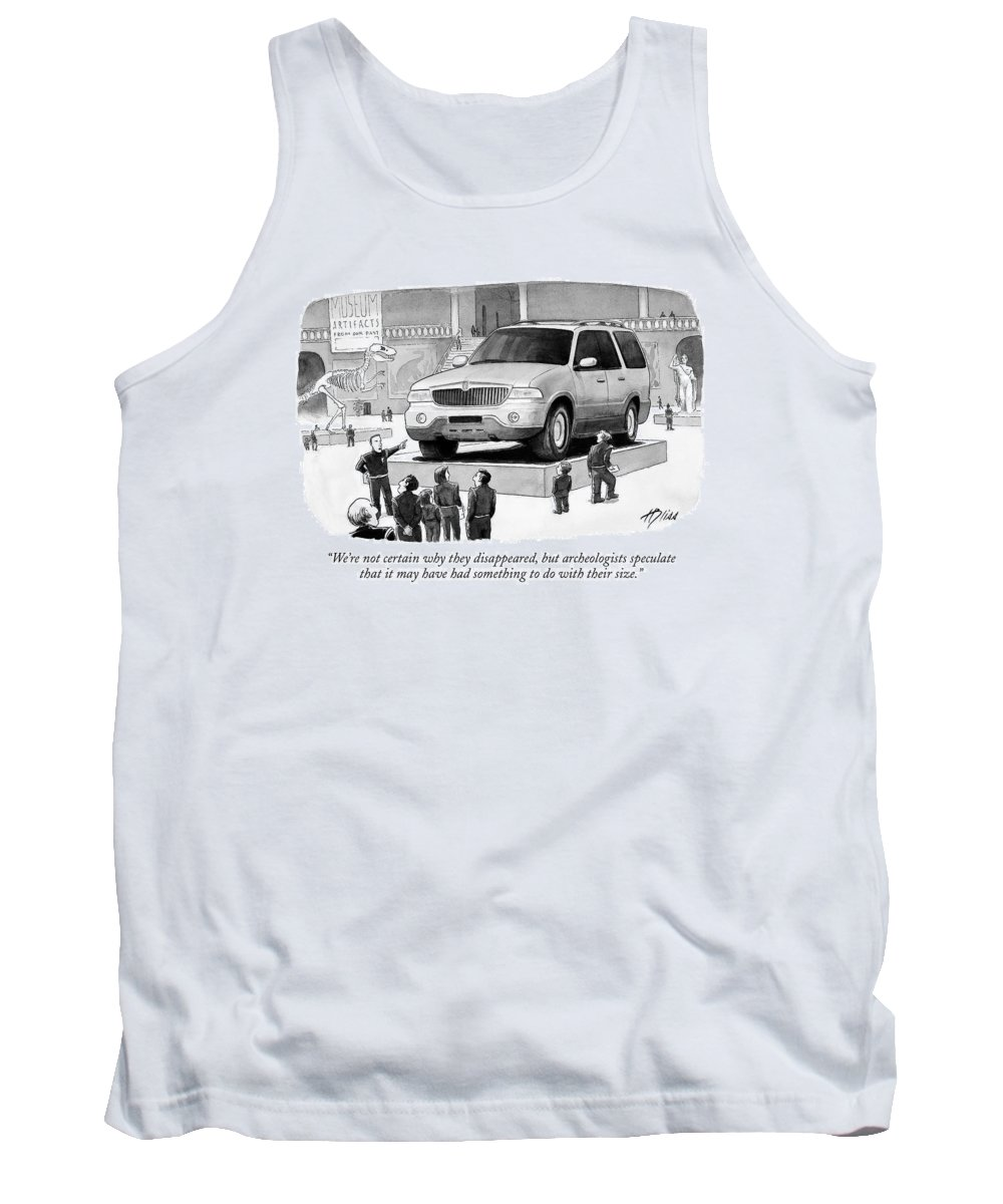 Archeologists Tank Top featuring the drawing We're Not Certain Why They Disappeared by Harry Bliss