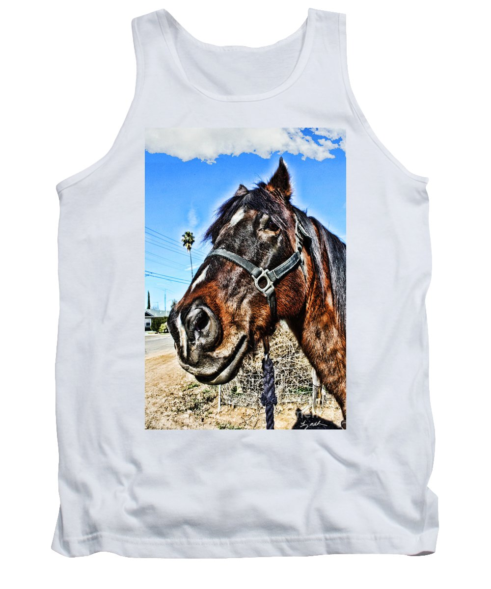 Horse Tank Top featuring the photograph What You Looking At by Tommy Anderson