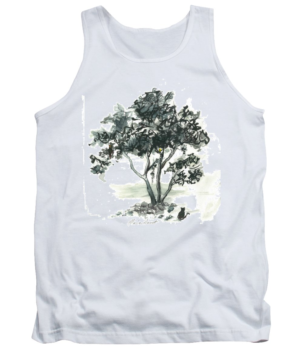 Tree Tank Top featuring the painting Studying The Menu by Maria Hunt