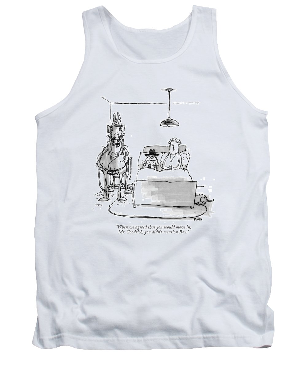 Horses - General Tank Top featuring the drawing When We Agreed That You Would Move by George Booth