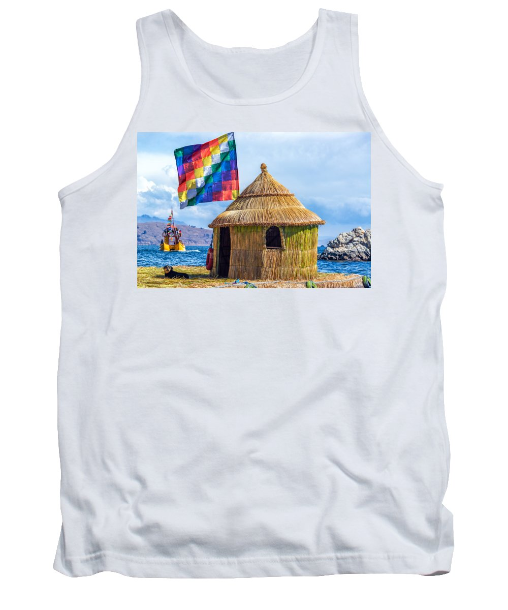 Titicaca Tank Top featuring the photograph Whiphala Flag On Floating Island by Jess Kraft