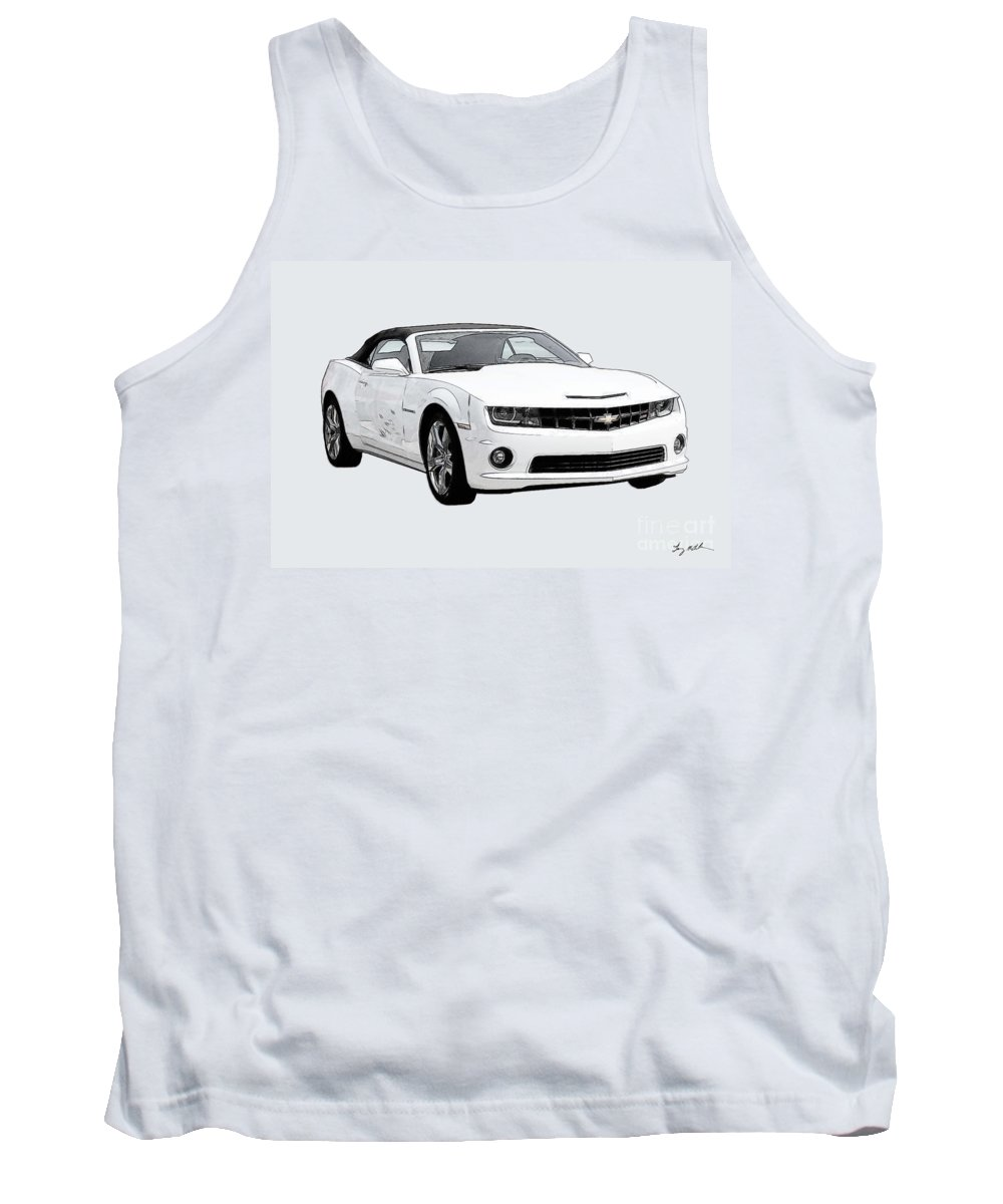 Camaro Tank Top featuring the digital art White Camaro by Tommy Anderson
