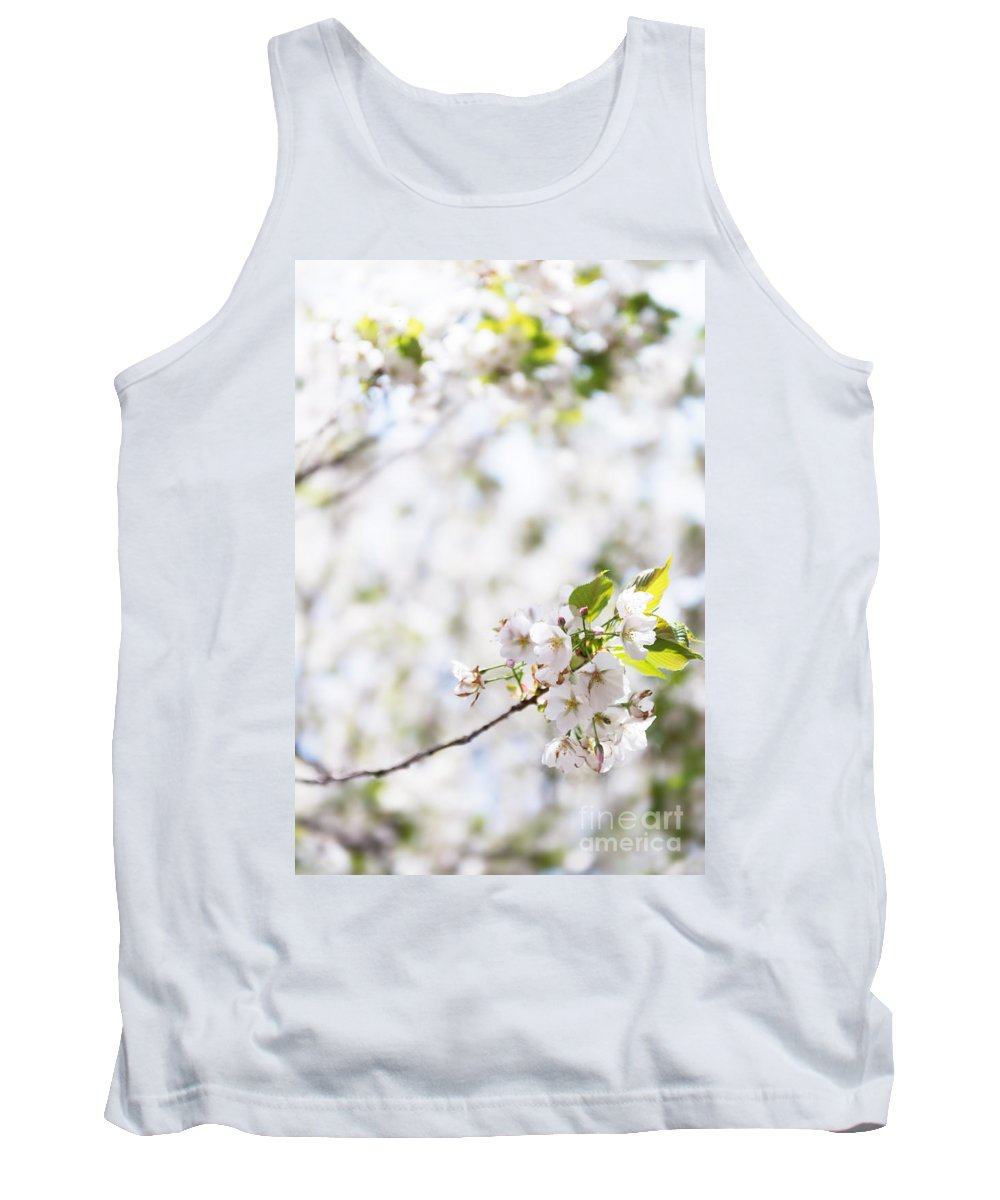 Blossom Tank Top featuring the photograph White Cherry Blossom Flowers by Oleksiy Maksymenko