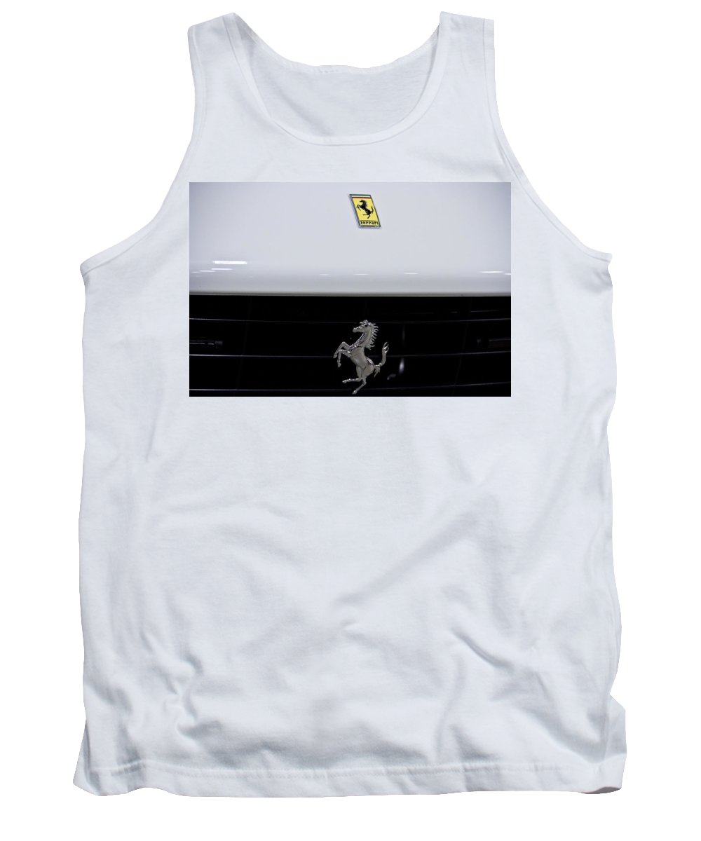 Motor Tank Top featuring the photograph White Ferrari-emblem And Gril by Eti Reid