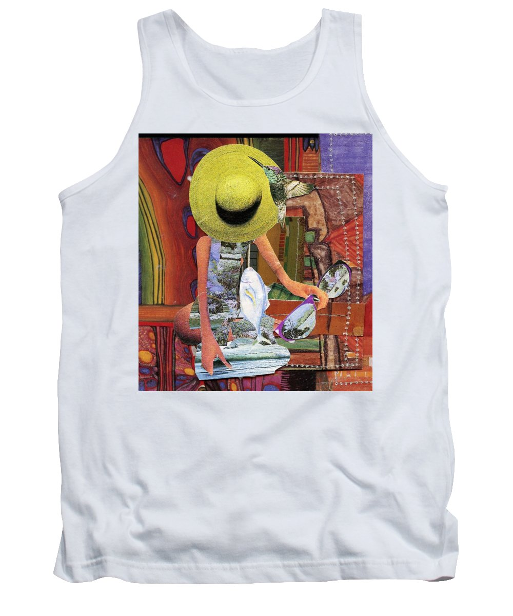 The Green Hat. A Mixed Media Art Collage. Tank Top featuring the mixed media The Green Hat by Patsy Stanley