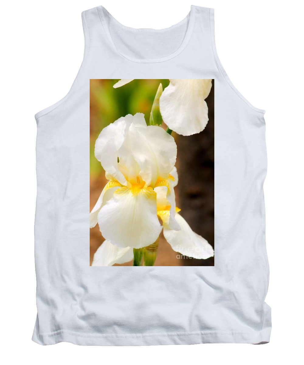 Iris Tank Top featuring the photograph White Iris by Janice Byer