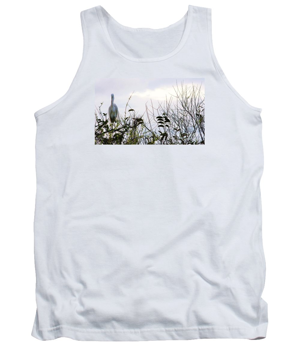 White Egret Tank Top featuring the photograph White On White by Chuck Hicks