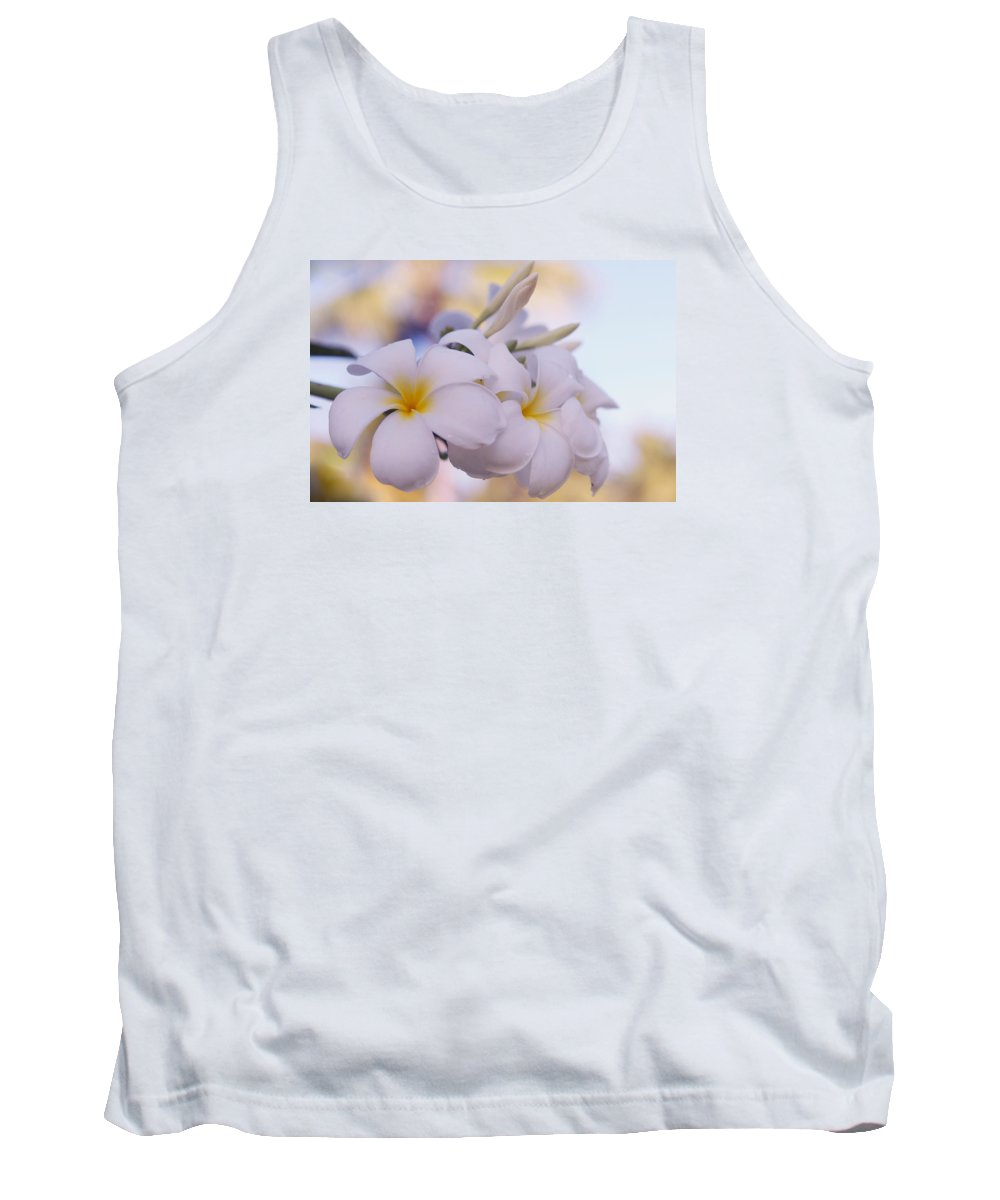 Jenny Rainbow Fine Art Photography Tank Top featuring the photograph White Snow Frangipani Flowers by Jenny Rainbow