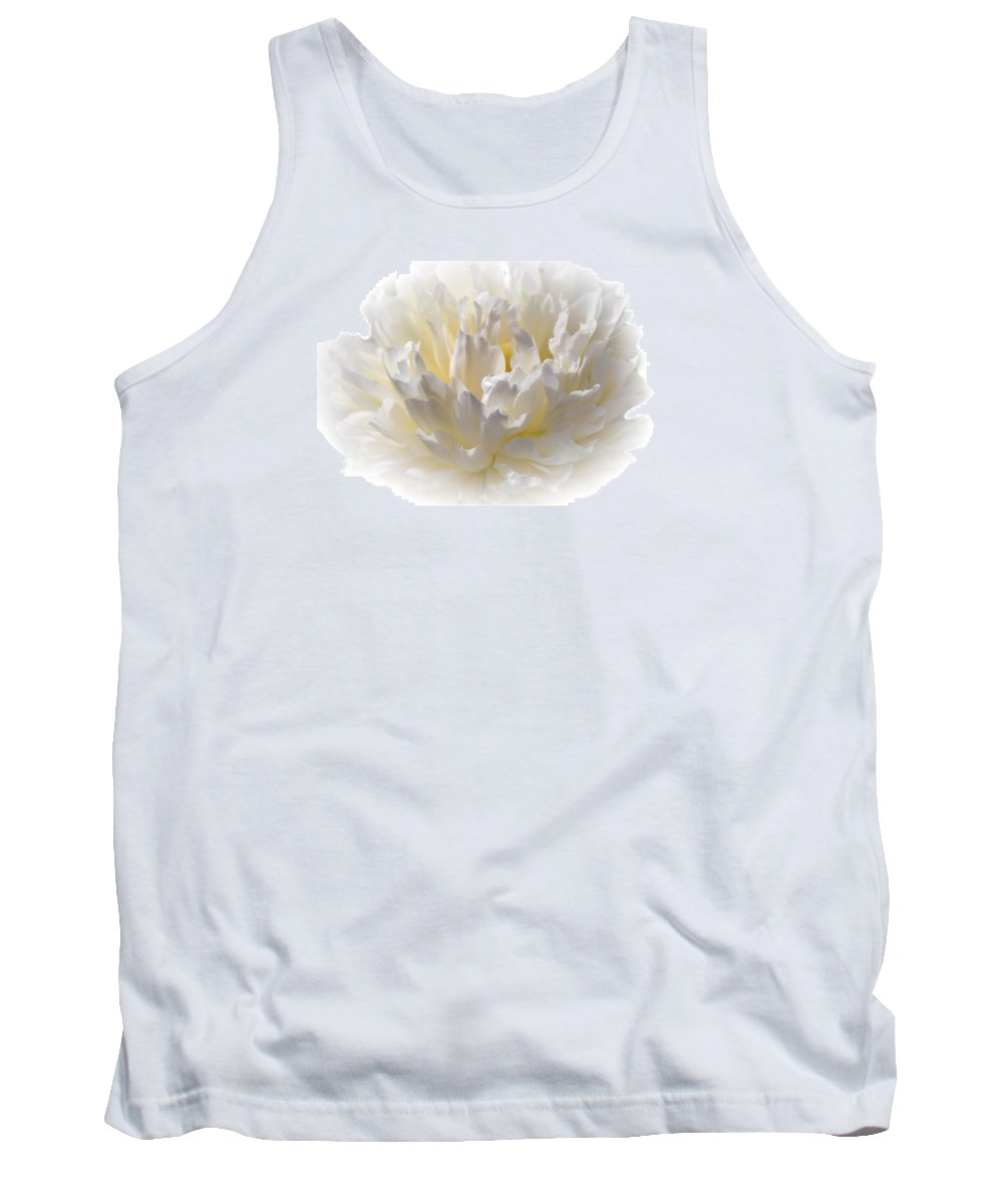 Peony Tank Top featuring the photograph White Peony With A Dash Of Yellow by Sherman Perry