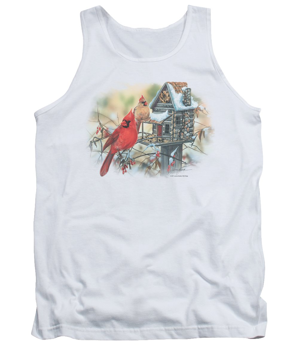 Wildlife Tank Top featuring the digital art Wildlife - Cardinals Rustic Retreat by Brand A