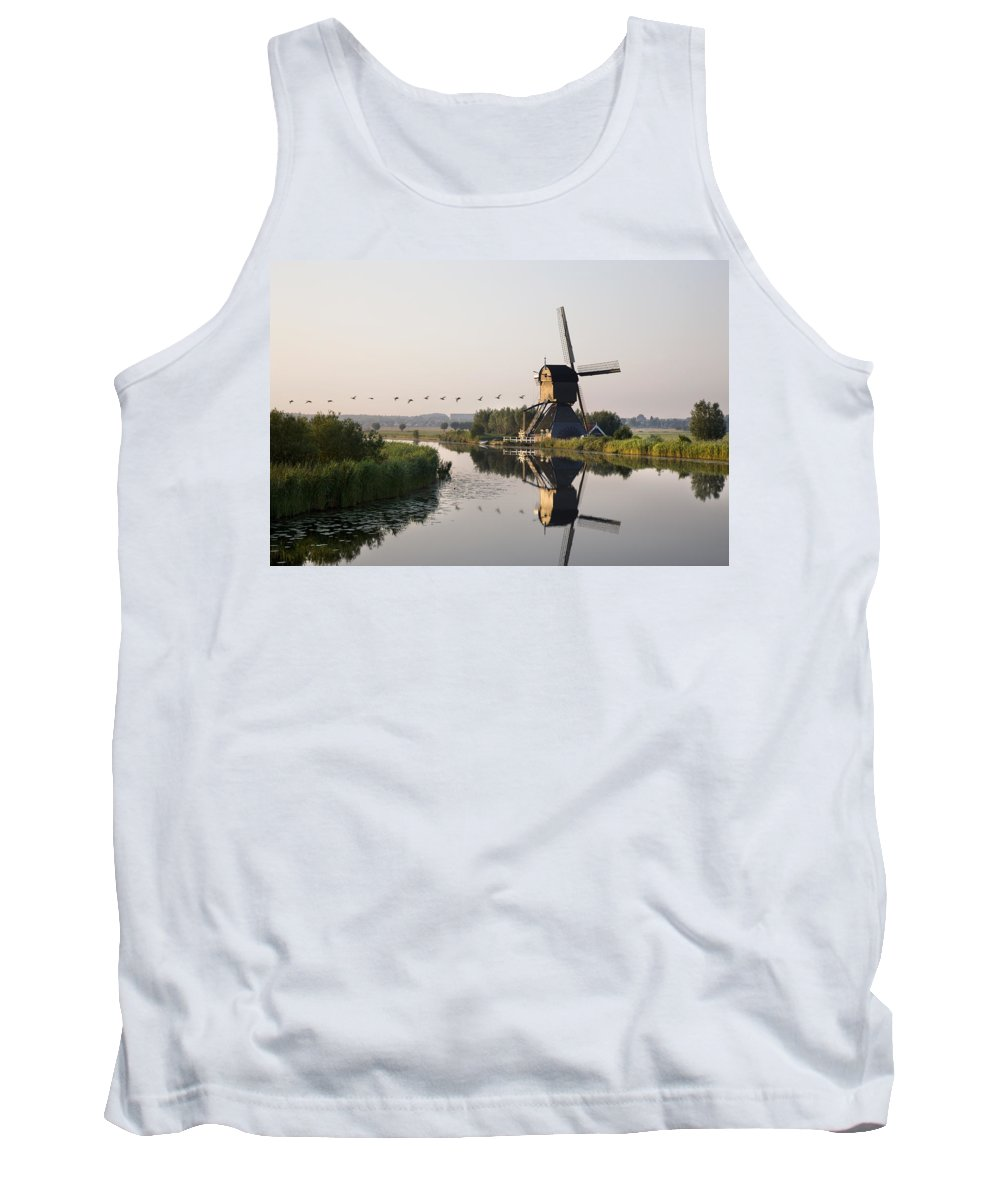Tank Top featuring the photograph Wind Mill On A Canal, Holland by Benjamin Rondel