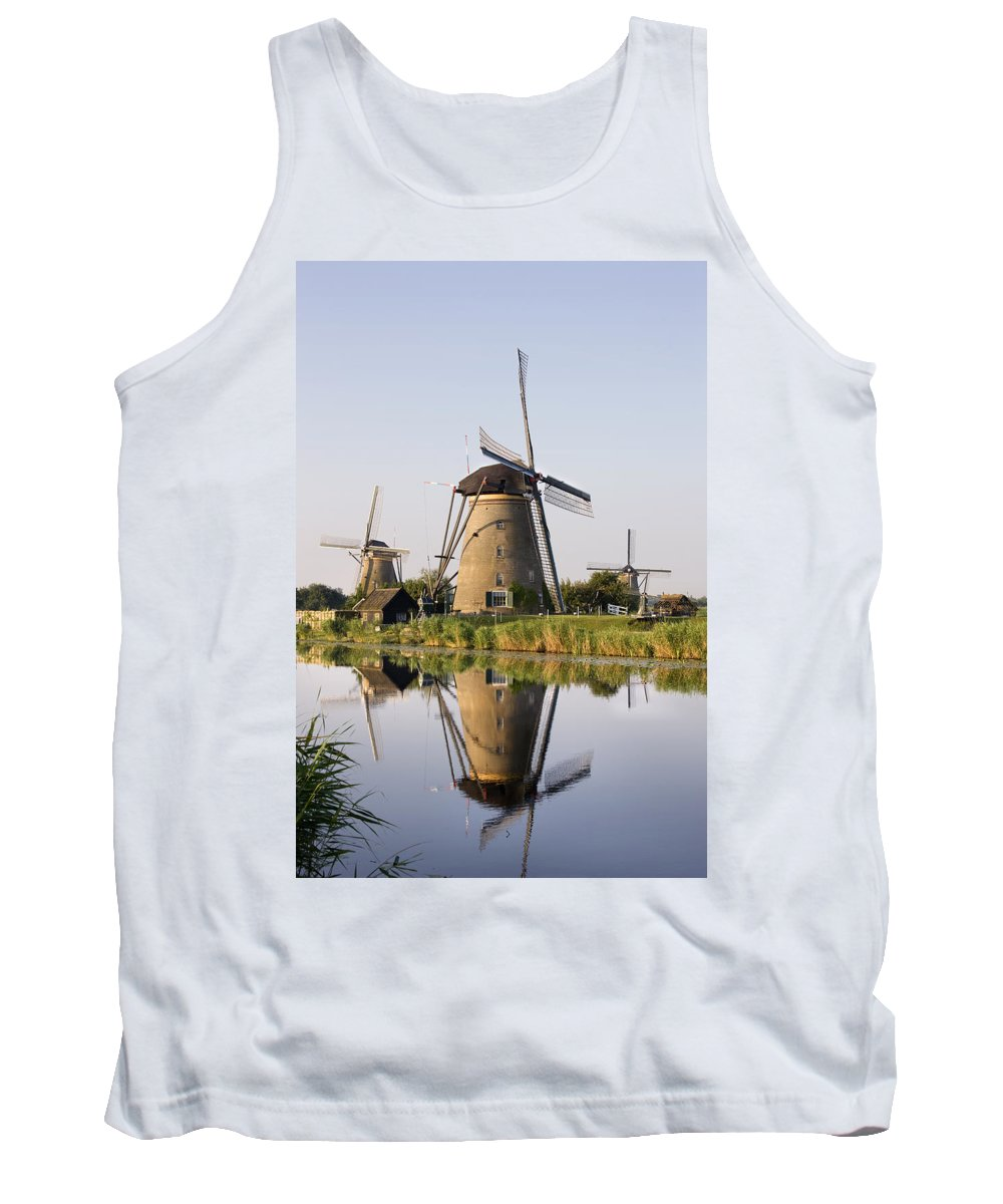 Tank Top featuring the photograph Wind Mills Next To Canal, Holland by Benjamin Rondel