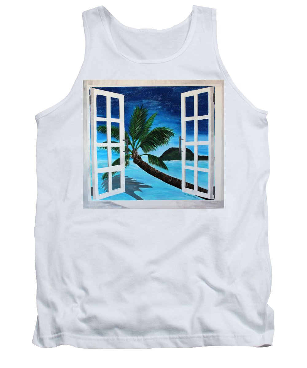 Beach Tank Top featuring the painting Window To Paradise Beach by M Bleichner
