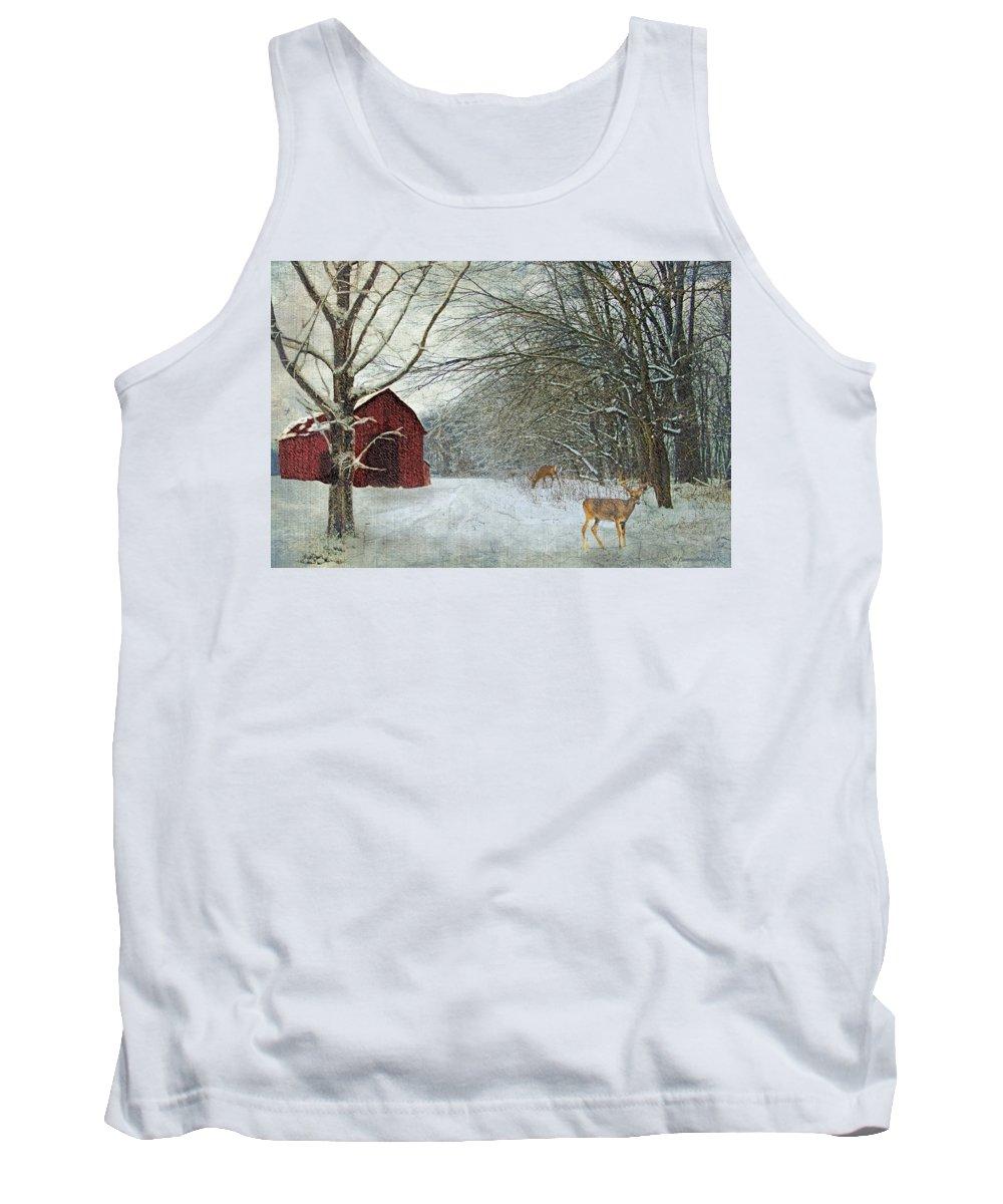 Winter Tank Top featuring the digital art Winter Barn by Lianne Schneider