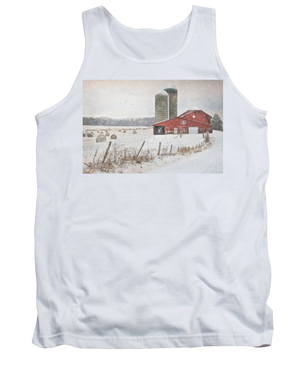 Barn Tank Top featuring the photograph Winter Begins by Lori Deiter