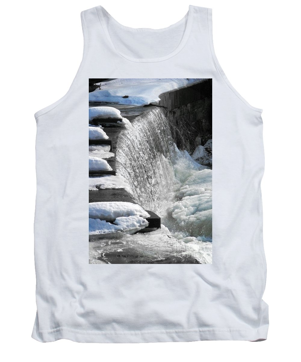 Waterfall Tank Top featuring the photograph Winter Thaw by Ellen Cotton