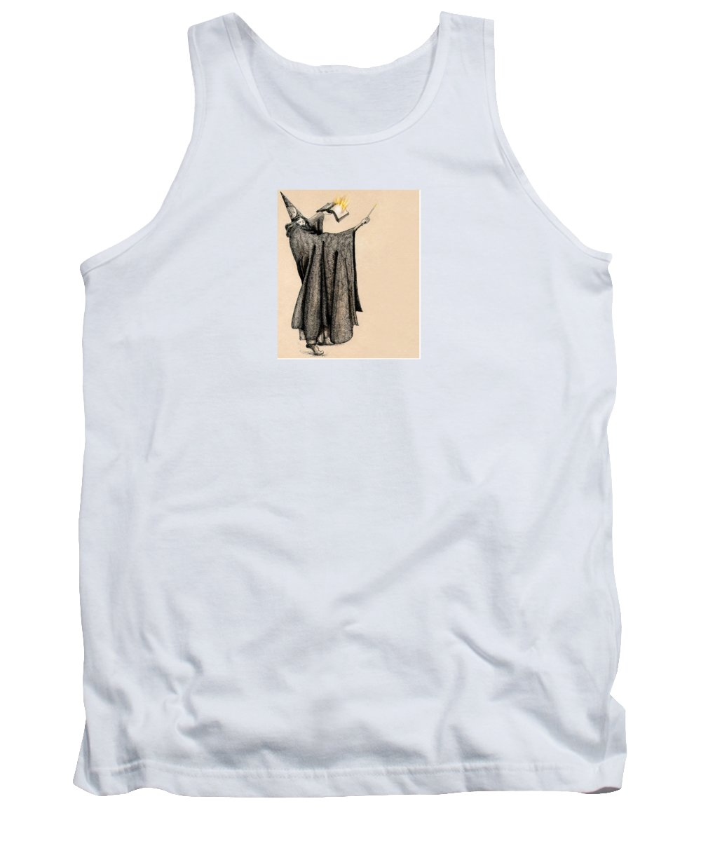 Wizard Tank Top featuring the drawing Wizard Of Orange by Ch' Brown