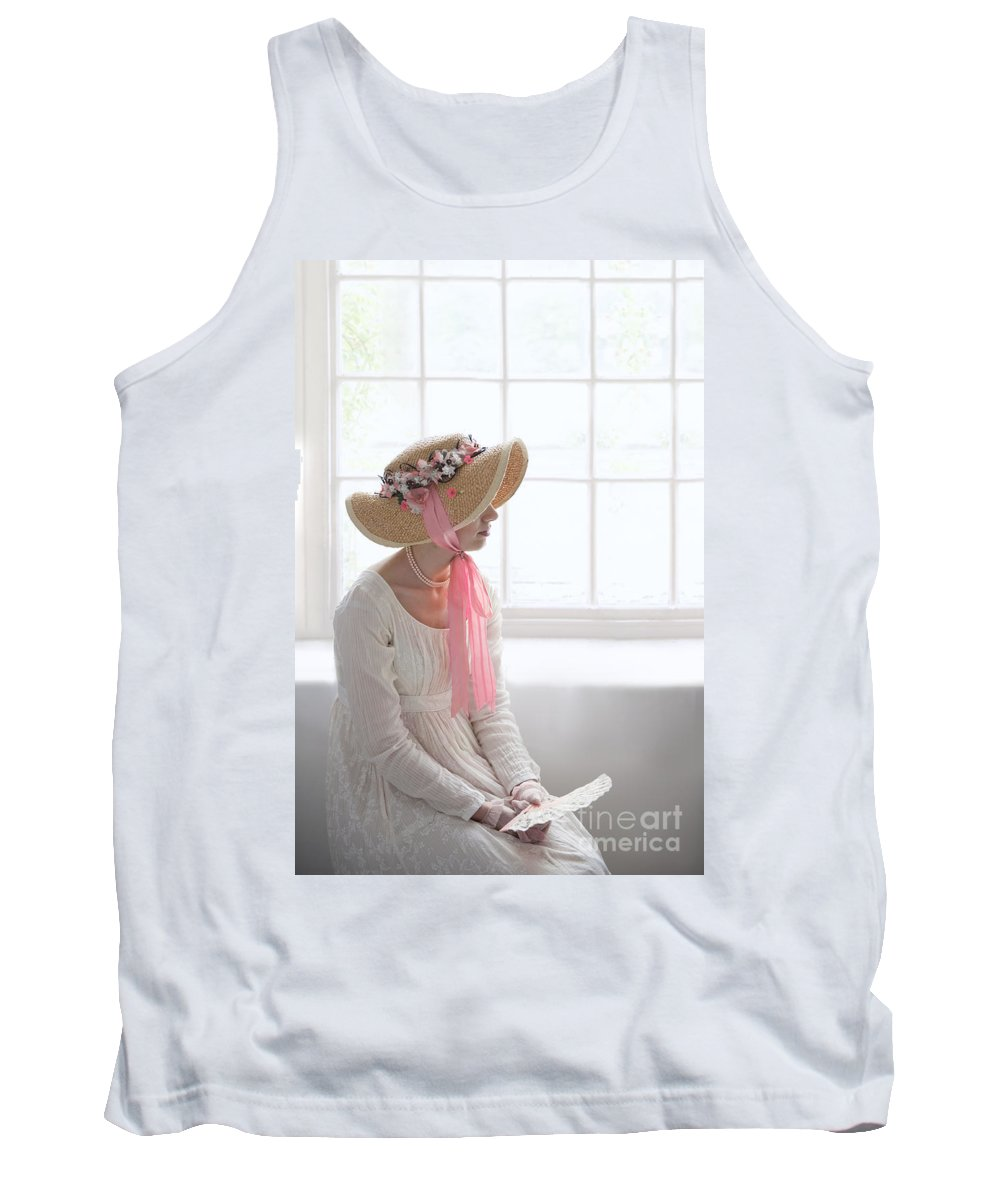 Regency Tank Top featuring the photograph Woman In A Regency Period Empire Line Dress With Straw Bonnet Si by Lee Avison