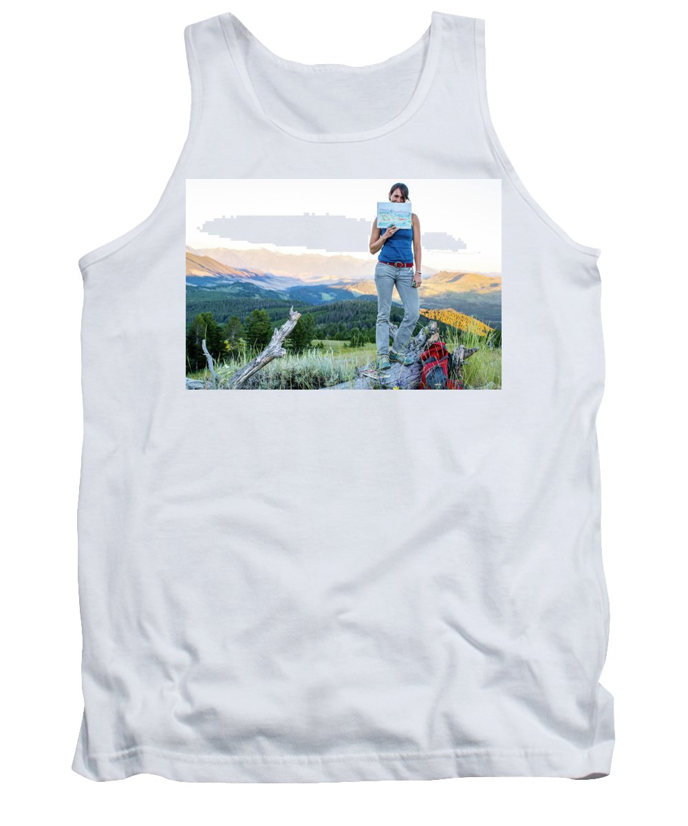 Holding Tank Top featuring the drawing Woman Shows Off Her Mountain Drawing by Hannah Dewey