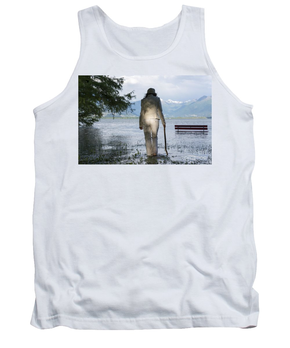 Woman Tank Top featuring the photograph Woman With A Stick by Mats Silvan