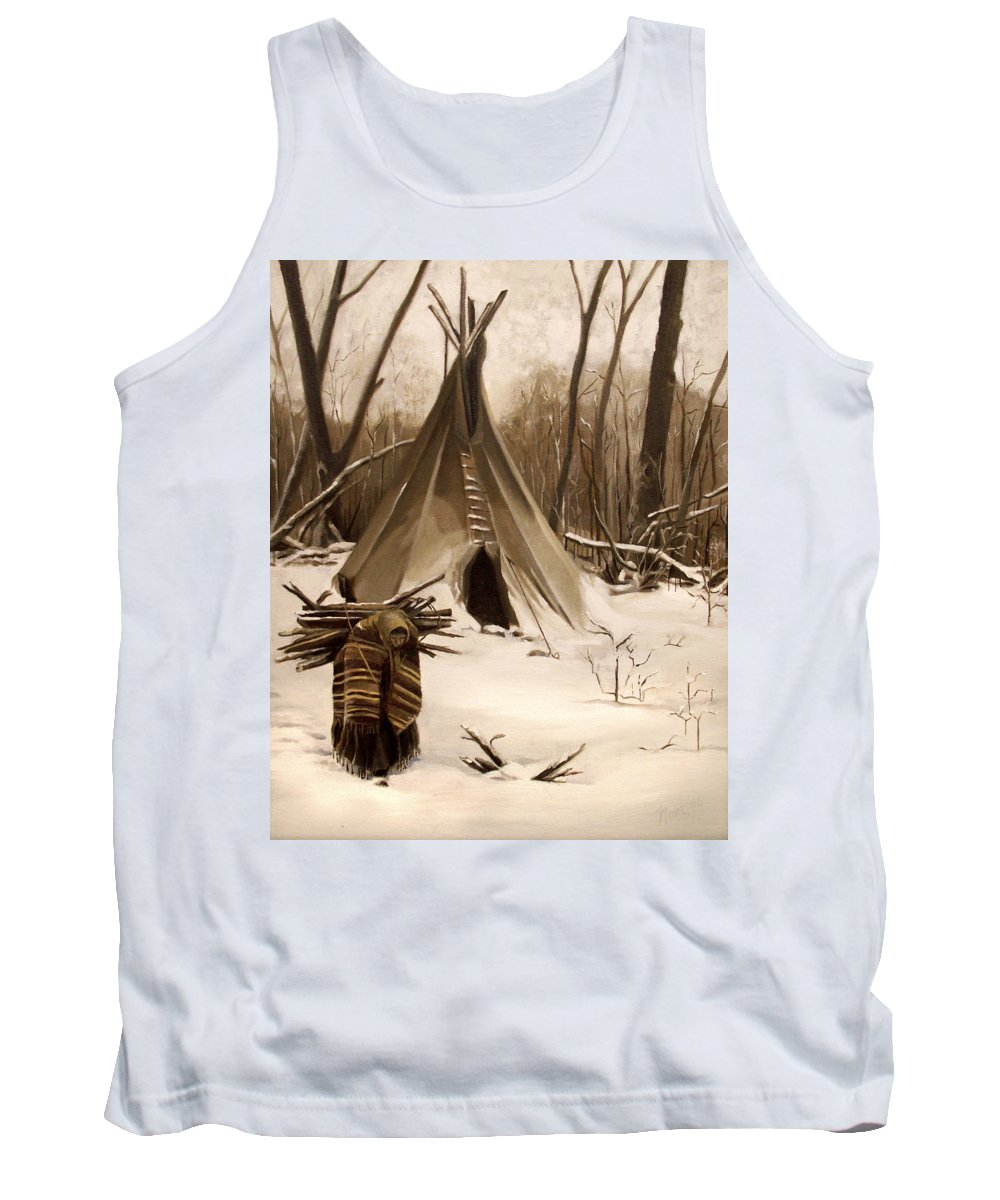 Native American Tank Top featuring the painting Wood Gatherer by Nancy Griswold