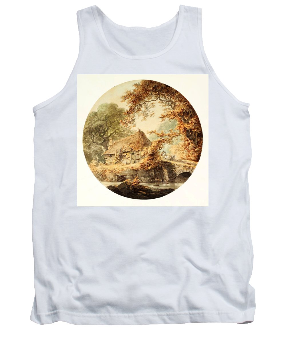 William Paynewooded Landscape With A Cottage Beside A Bridge Tank Top featuring the painting Wooded Landscape With A Cottage Beside A Bridge by Celestial Images
