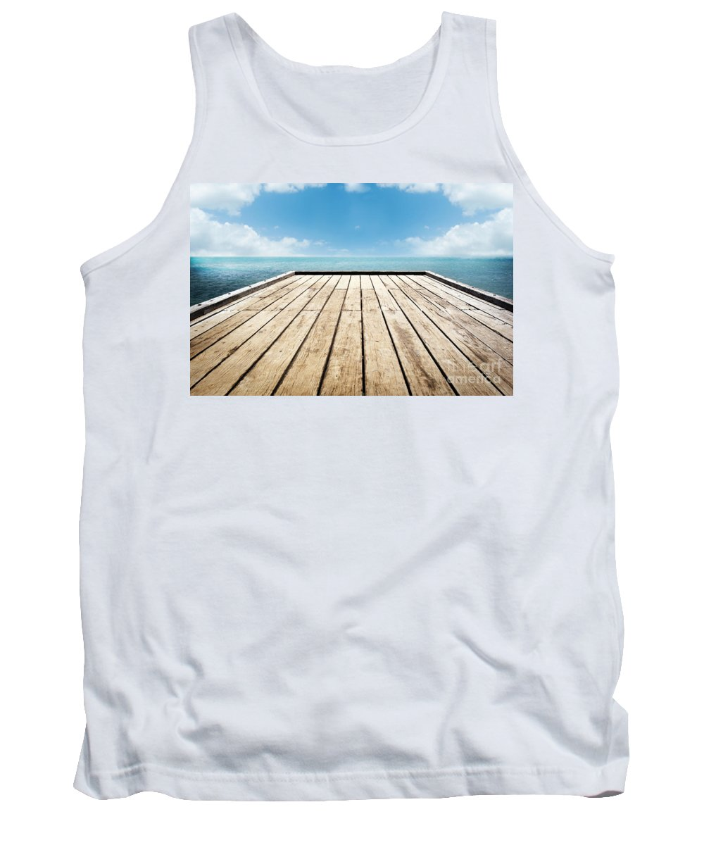 Beach Tank Top featuring the photograph Wooden Surface Sky Background by Tim Hester