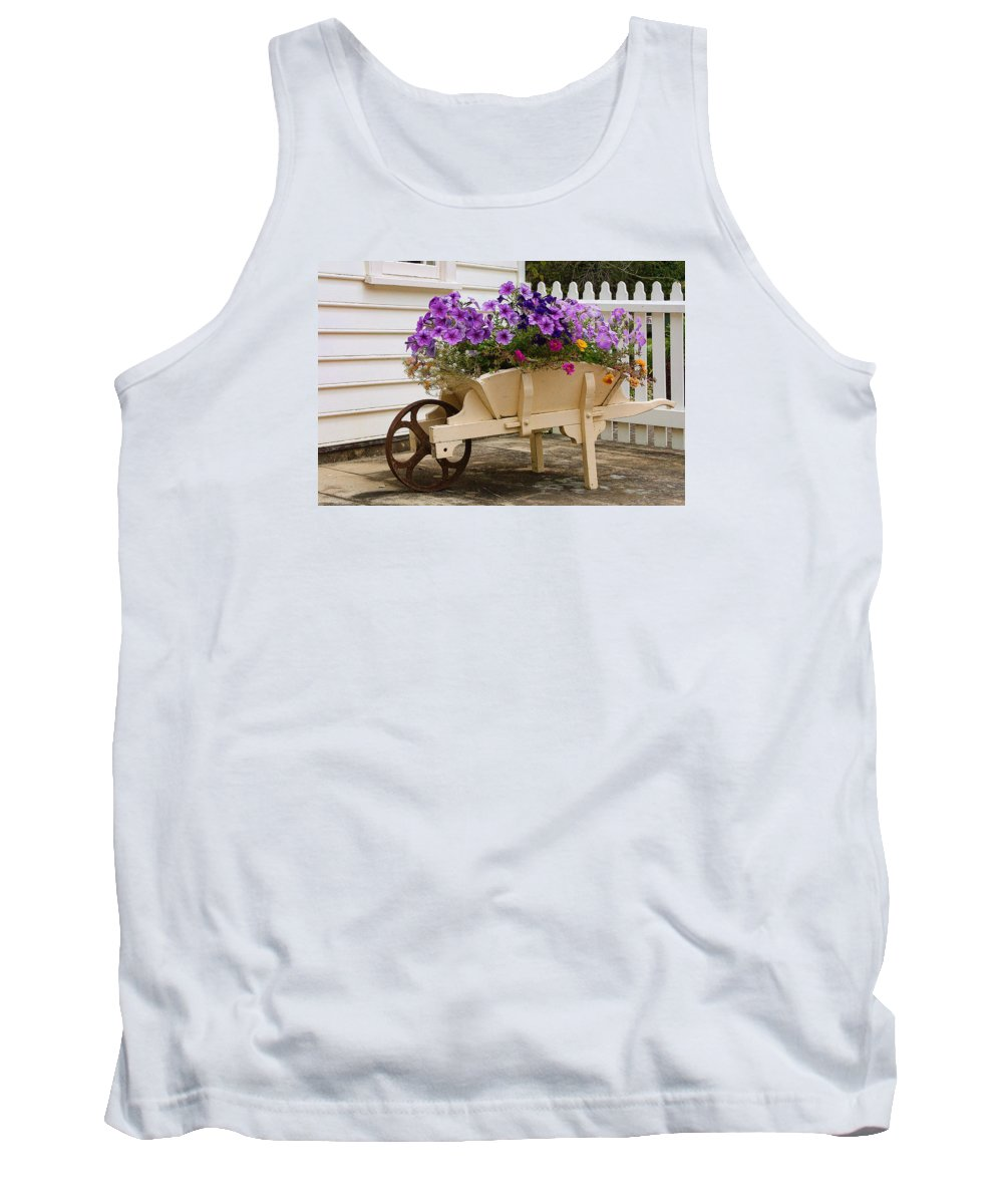 Foreign Tank Top featuring the photograph Wooden Wheelbarrow Full Of Flowers by Linda Phelps