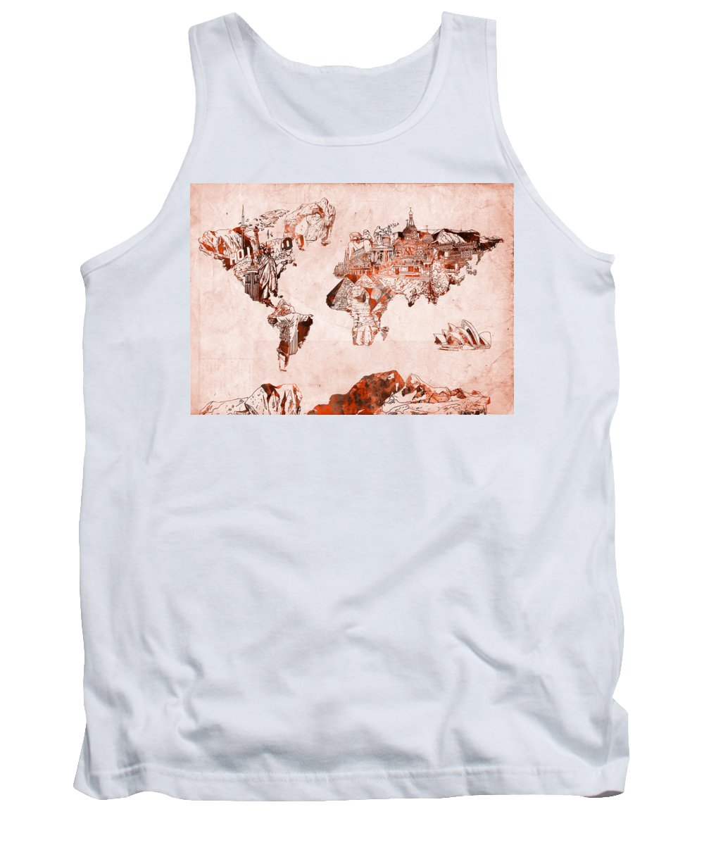 Map Of The World Tank Top featuring the painting World Map Watercolor by Bekim Art