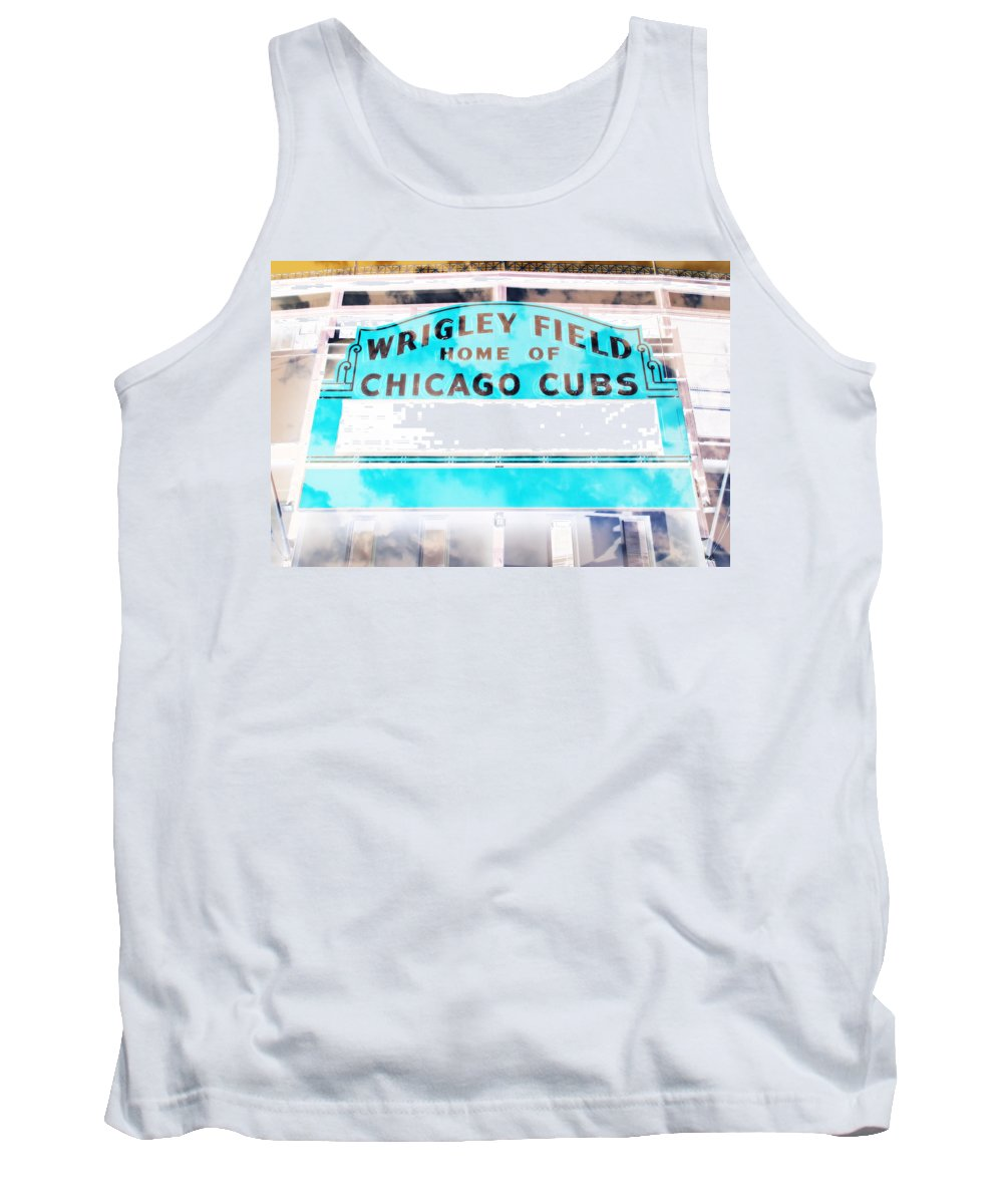 Wrigley Tank Top featuring the photograph Wrigley Field Sign - X-ray by Stephen Stookey