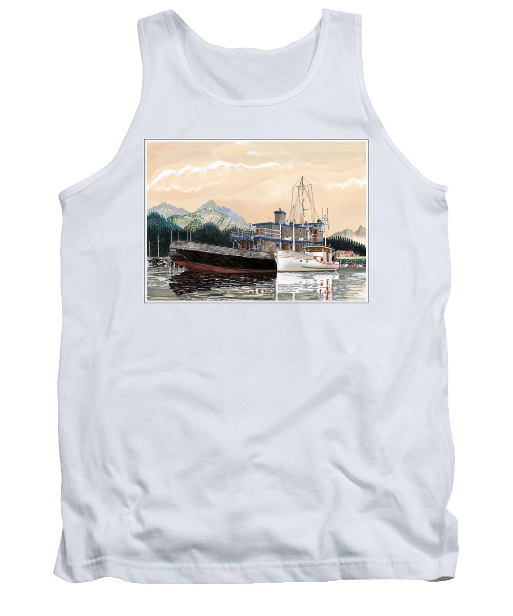 Yacht Portraits Tank Top featuring the painting Alaskan Sunrise by Jack Pumphrey