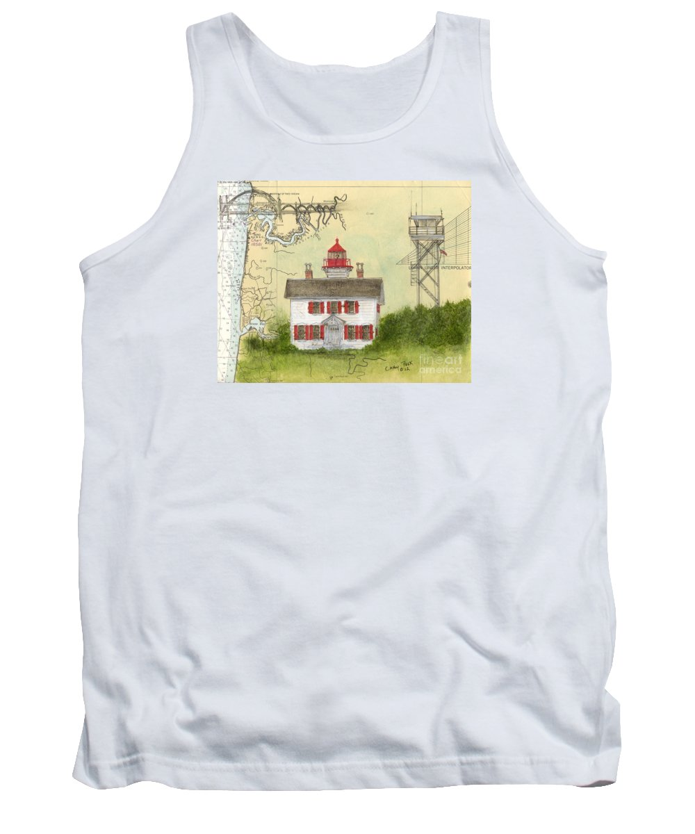 Yaquina Tank Top featuring the painting Yaquina Bay Lighthouse Or Nautical Chart Map Art by Cathy Peek