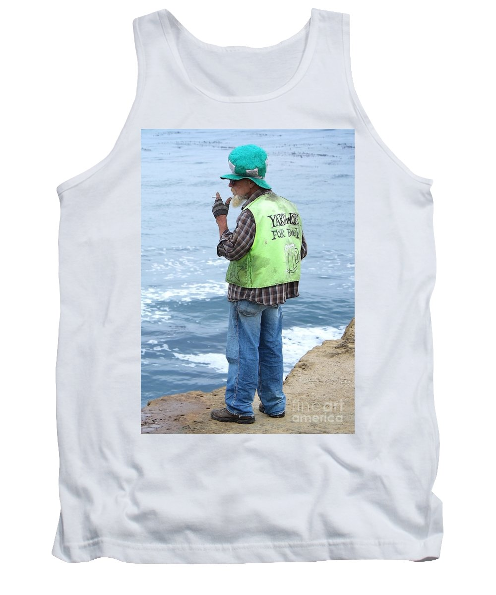 Man Tank Top featuring the photograph Yardwork For Beer by Ellen Cotton