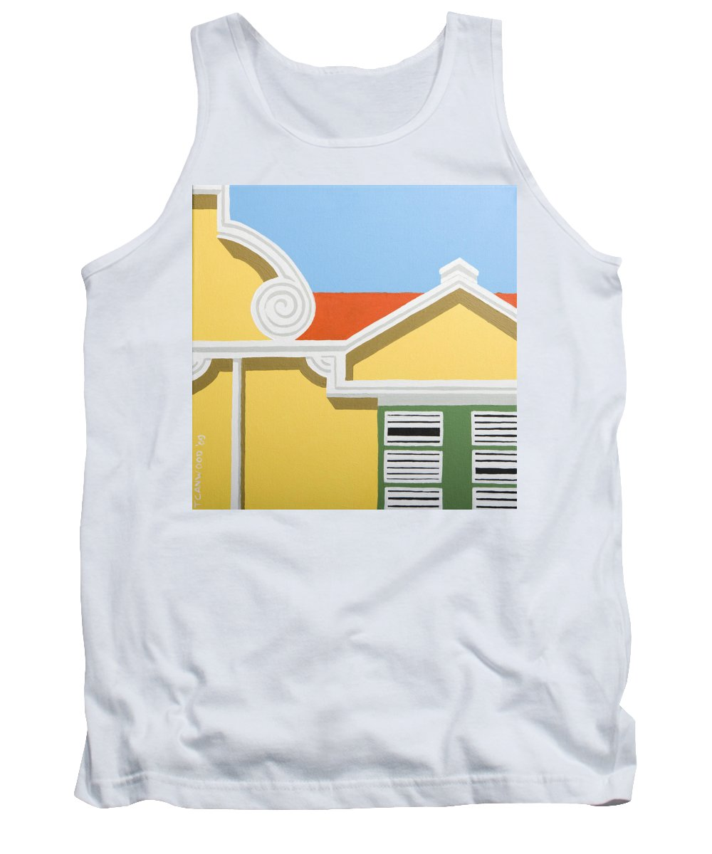 Yellow House Caribbean Architecture Curacao Aruba Antilles Sun Tank Top featuring the painting Yellow House by Trudie Canwood