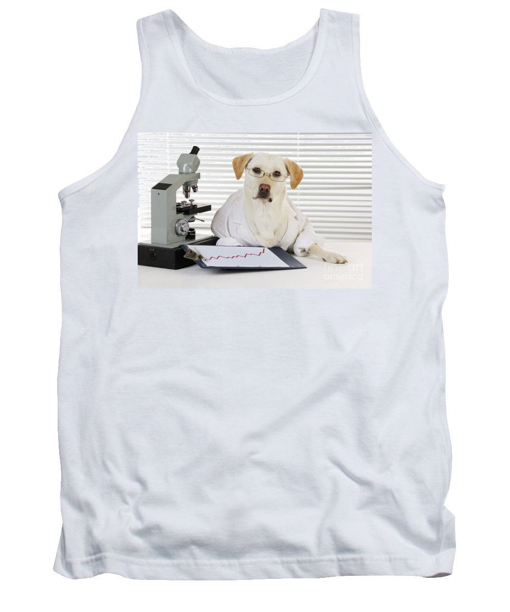 Labrador Retriever Tank Top featuring the photograph Yellow Lab In Lab Coat by John Daniels